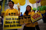 Supporters calling for electoral reform, ahead of the country&#039;s 13th general election this weekend.